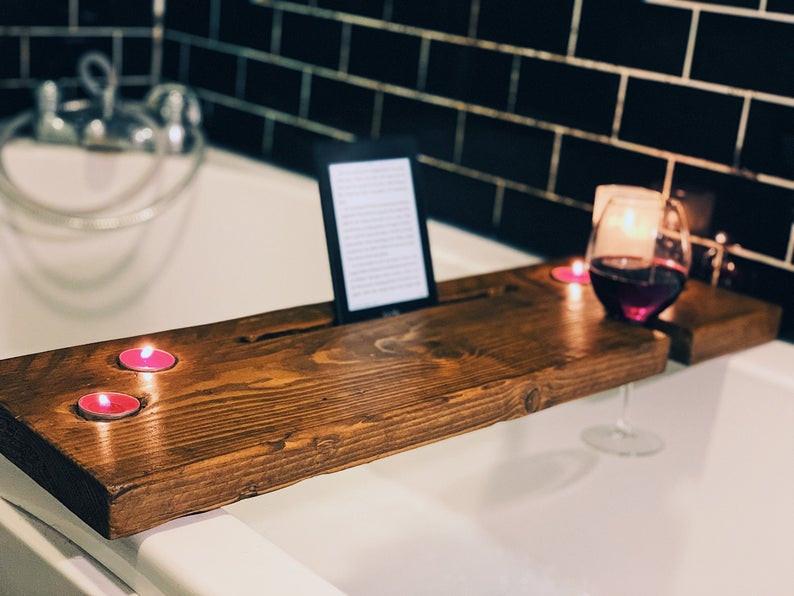 Bath Caddy, Rustic Bath Caddy, Wooden Bath Caddy