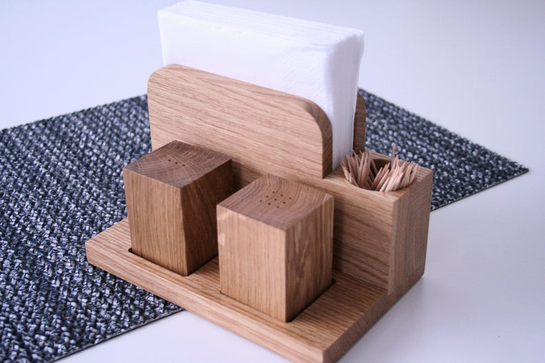 Handmade Wooden Shaker Set, Salt and Pepper Shakers