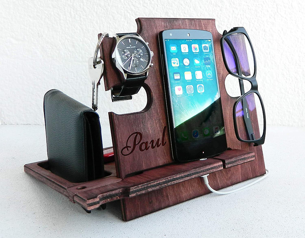 Personalized Wooden Phone Stand, Wooden Docking Station