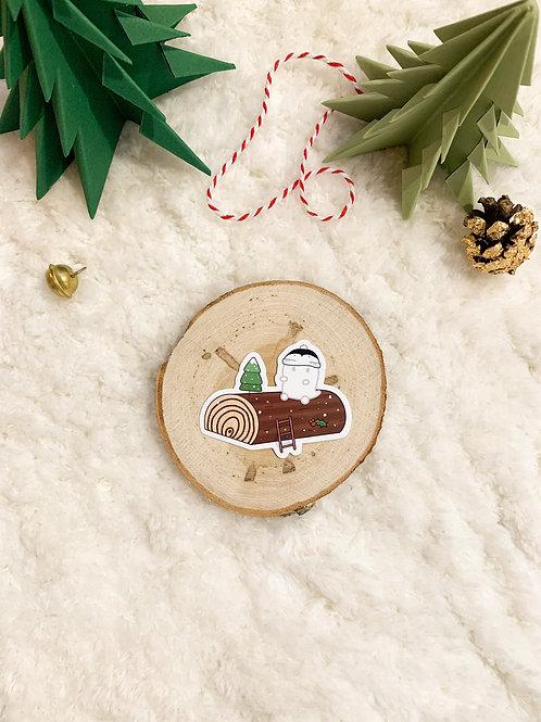 Autocollant Vinyle - Bûche de Noël