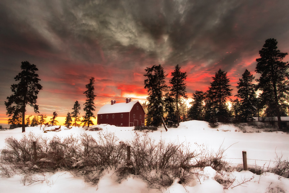 Fiery Farmland Sunset