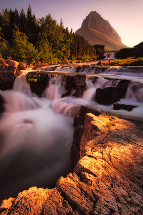 Sunset at Swiftcurrent Falls