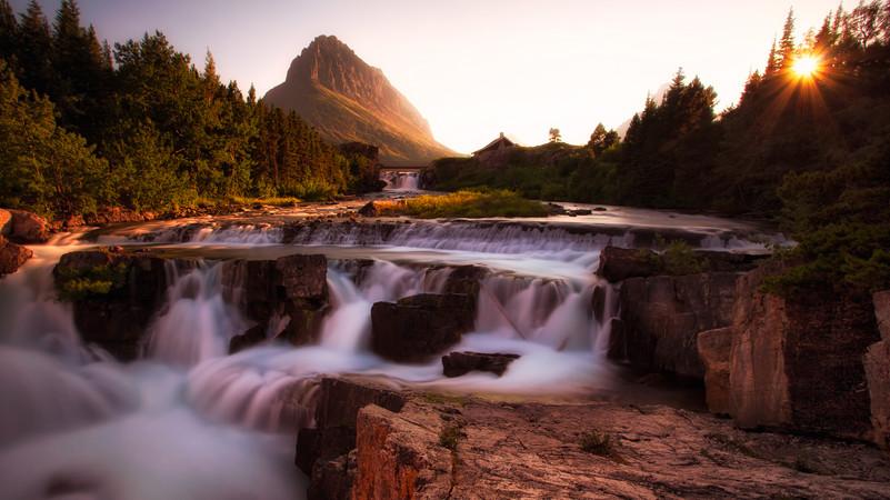 Swiftcurrent Falls & the Setting Sun