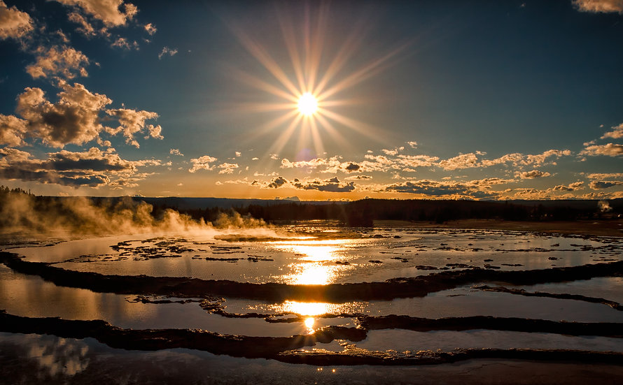 Sunburst Over Great Fountain Geyser
