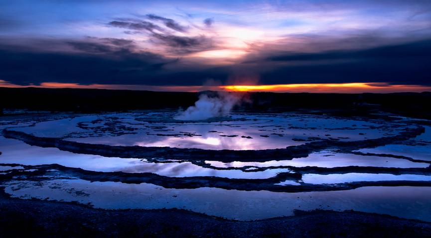 Twilight at Great Fountain Geyser