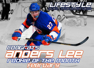 Anders Lee Named NHL Rookie of the Month