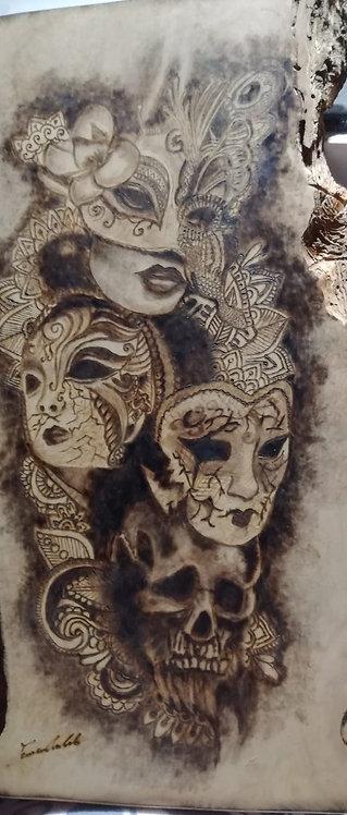 Nr. 13 - Pirografia su legno di ulivo bianco.