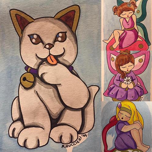 Nr. 19 Dipinti gatto e fatine