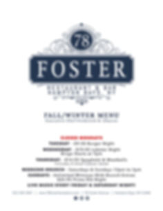 78 Foster Menu Cover