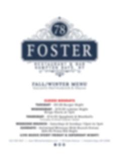 78 Foster Menu Cover