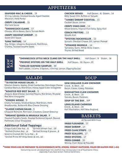 78 Foster Menu Appetizers, Salads, Soups