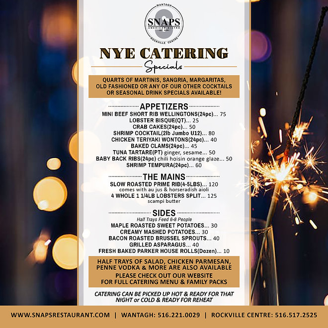 SNAPS NYE Catering