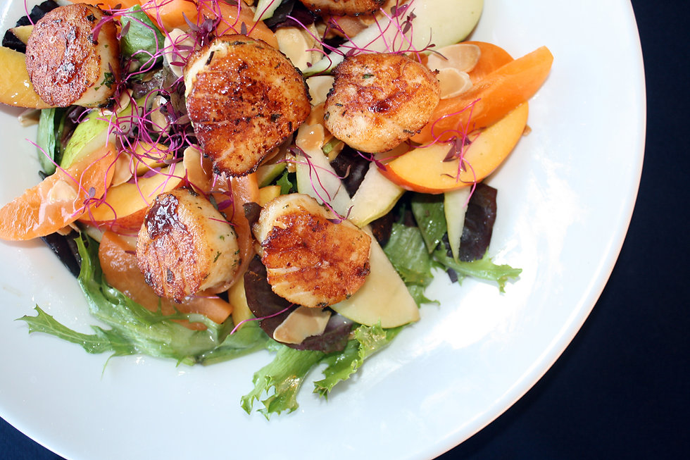 Scallops on salad