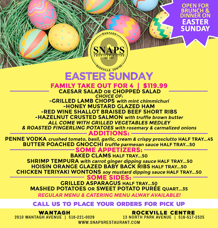 SNAPS Easter Menu