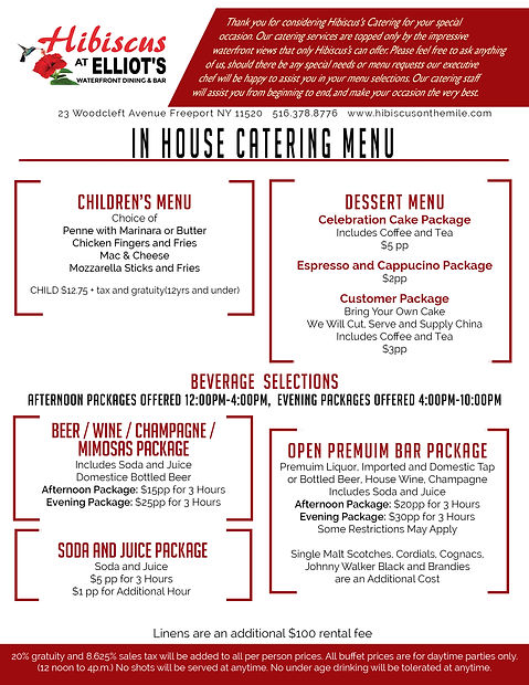 Hibiscus catering menu