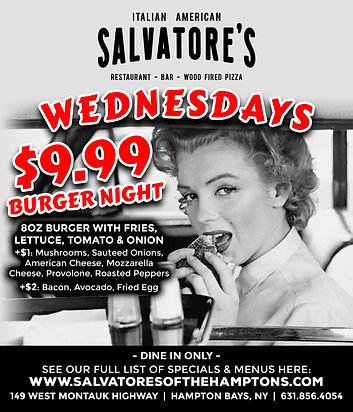 Salvatores Wednesdays burger night