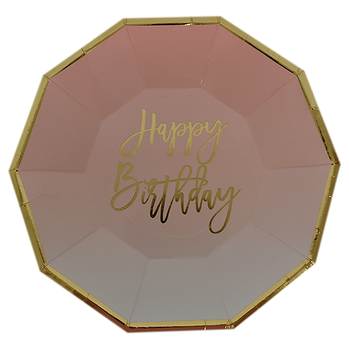 F-033 PLATES HBDAY HENDECAGON PINK