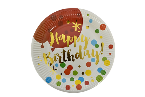 F-039PLATES HBDAY DOTS