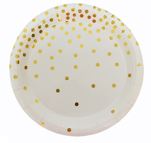 F-052 PLATES GOLD DOTS IN WHITE