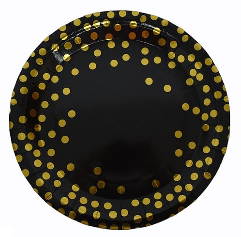 F-058 PLATES GOLD DOTS IN BLACK