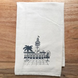 screenprinted dishtowel with San Francisco Ferry Building Design