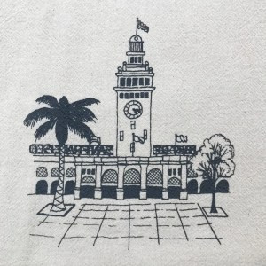 screenprinted dish towel with San Francisco Ferry Building design