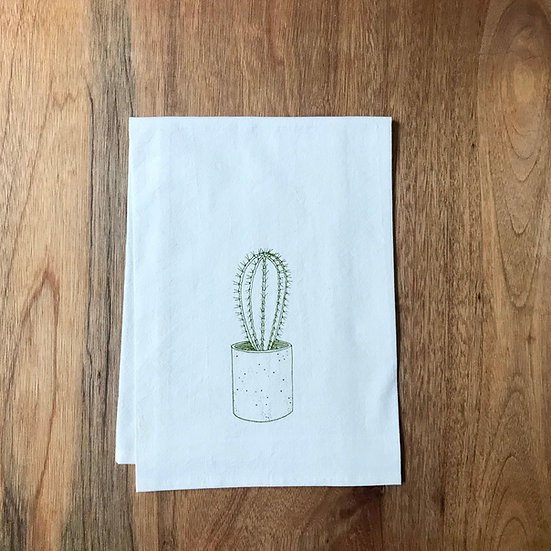 Cactus print in olive green on Dishtowel - Flour Sack Dish Towel