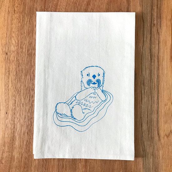 Otter Dishtowel - Sea Otter Flour Sack Dish Towel