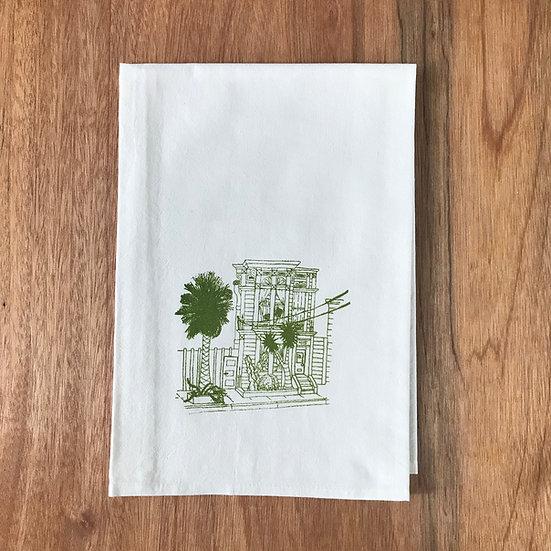 Victorian House Dishtowel - Screenprinted in green ink