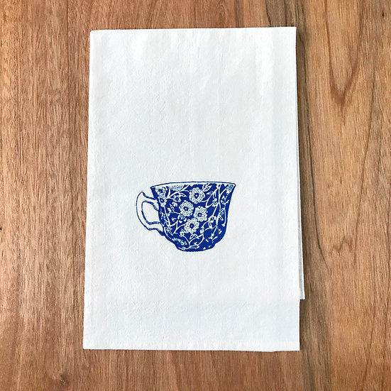 tea cup screenprinted in blue on flour sack cotton dishtowel