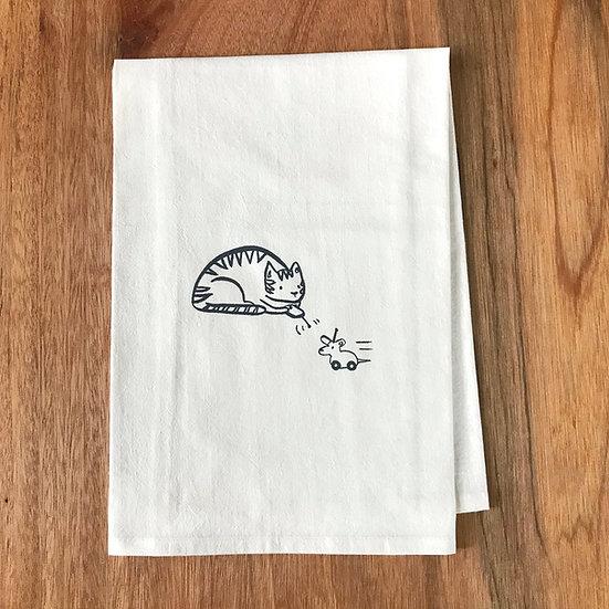 Cat Dishtowel - Flour Sack Dish Towel