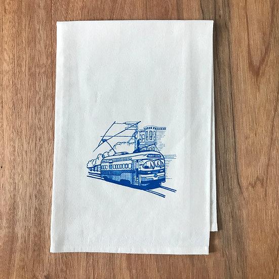 F Market Muni Streetcar Dishtowel - San Francisco Flour Sack Dish Towel