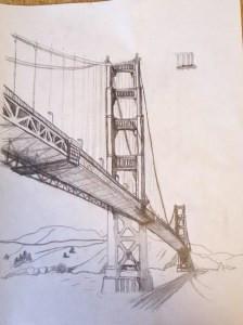 golden gate bridge sketch in pencil