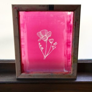 screen emulsion coated and burned with california poppy image