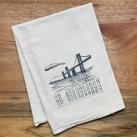 bay bridge kitchen dish towel