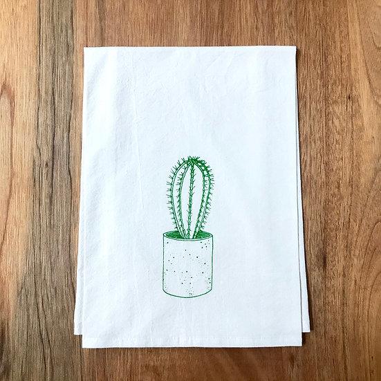 Cactus print in bright green on Dishtowel - Flour Sack Dish Towel
