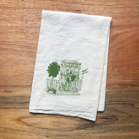 victorian house san francisco printed in green ink