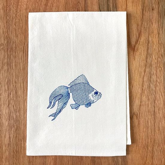 Blue Fish Dishtowel - Goldfish Flour Sack Dish Towel