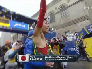 「川内がボストンマラソンで優勝 瀬古以来、31年ぶり 」を英語にすると