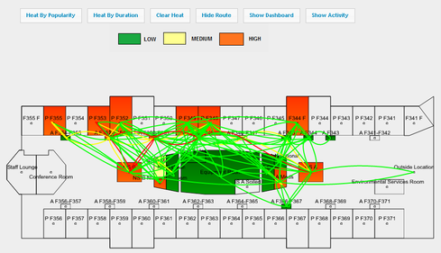 Heat map visualization shows the location of the greatest traffic within a nursing unit, courtesy of Stanley Healthcare