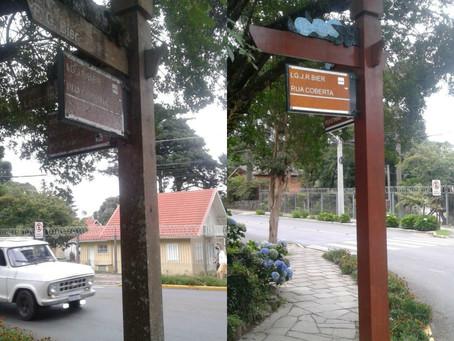 O Cidade de Gramado noticiou, agora a Prefeitura vai recuperar postes e pintura de nomes das ruas