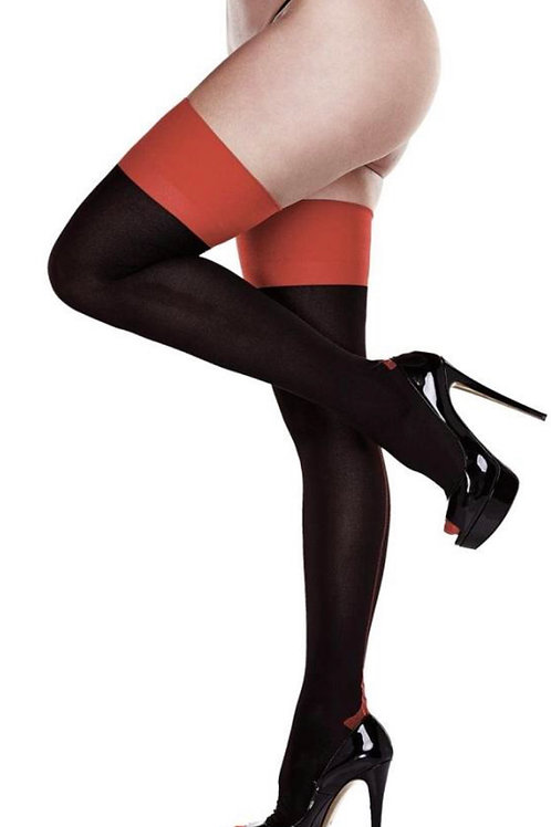 Black & Red Cuban Heel Thigh Highs