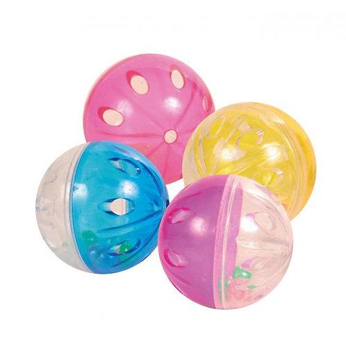 Serie de 4 pelotas, con cascabel, plástico, 4,5 cm.