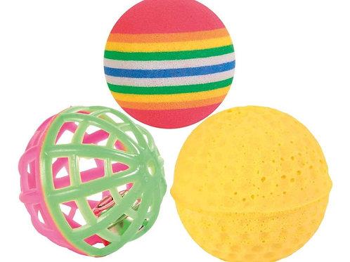 Serie de 3 pelotas, con cascabel, ø 3.5-4 cm.