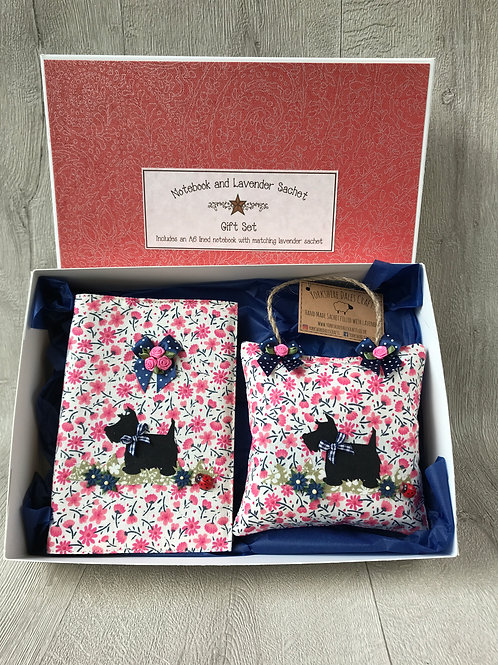 Scottie Gift Set - Including an A6 notebook and lavender sachet