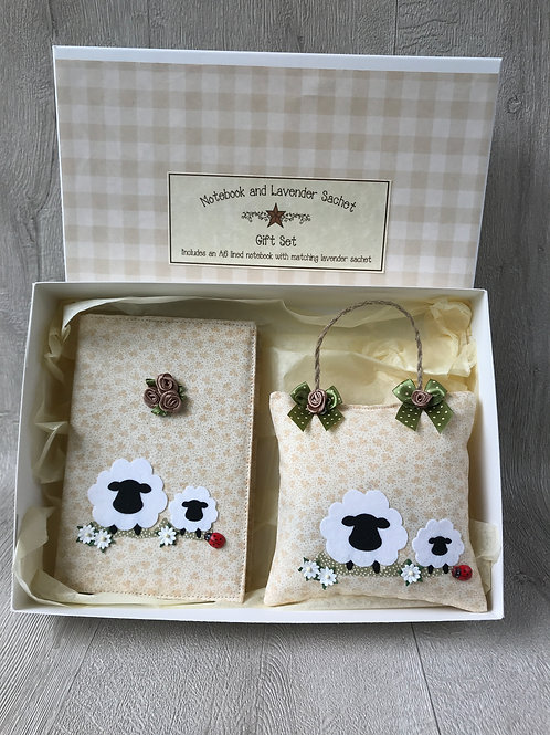 Sheep Gift Set - Including A6 Notebook and Lavender Sachet