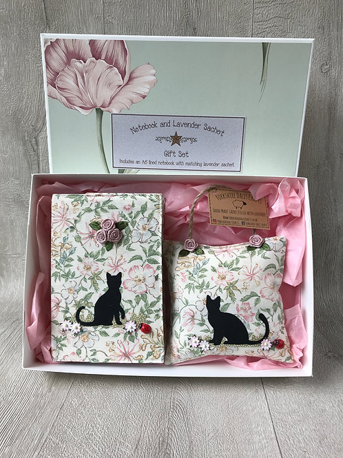 Black Cat Gift Set including A6 Notebook and Lavender Sachet