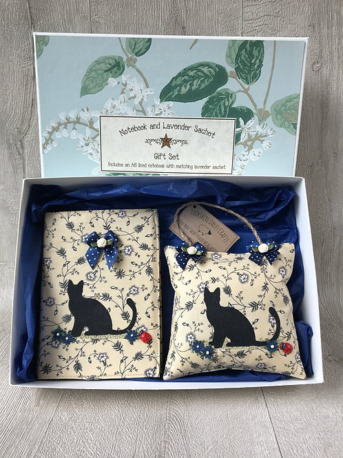 Black Cat Gift Set - Including an A6 Notebook and Lavender Sachet