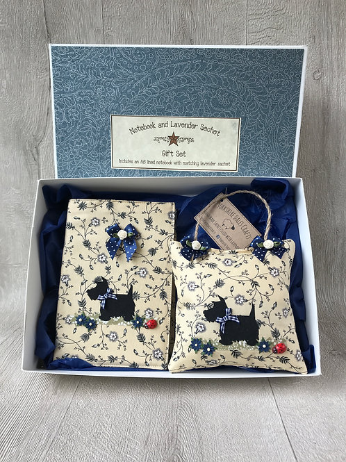Scottie Dog Gift Set - Including A6 notebook and matching lavender sachet