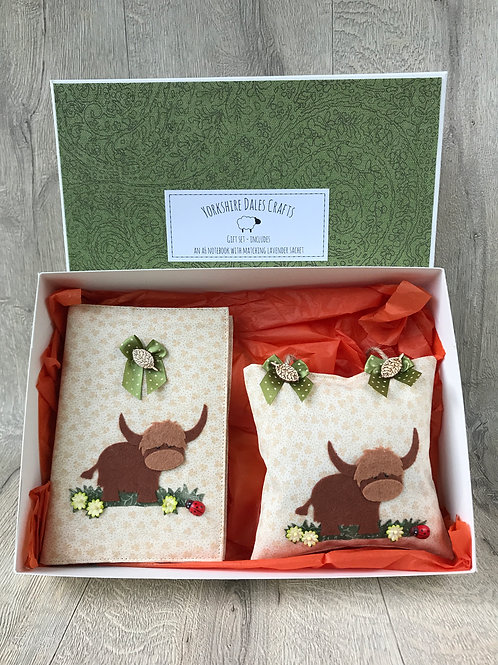 Highland Cow Gift Set Collection -  includes an A6 Notebook and Lavender Sachet